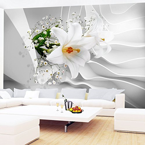 Fototapeten Blumen 3D Lilien Weiß 352 x 250 cm Vlies Wand Tapete Wohnzimmer Schlafzimmer Büro Flur Dekoration Wandbilder XXL Moderne Wanddeko Flower 100% MADE IN GERMANY - Runa Tapeten 9179011a
