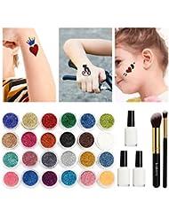 Kit de tatouage Glitter, Tatouages temporaires Peinture pour le visage Make Up Body Glitter Body Art Design pour les enfants Adolescent adulte, Halloween, avec 24 couleurs brillantes, 108 feuilles avec motif de tatouage à thème unique
