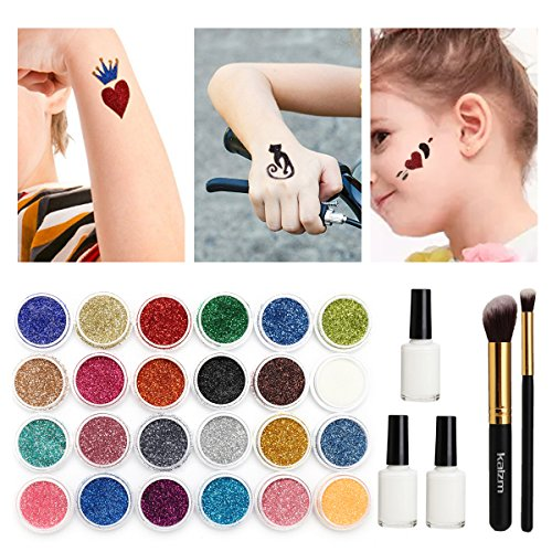 Tattoo-Kit, temporäre Glitzer Tattoo Make Up Körper Glitzer Körper Kunst Design für Kinder Teenager Erwachsene, mit 24 Farben der Glitzer, 108 Blatt Einzigartig Themed Tattoo Schablone