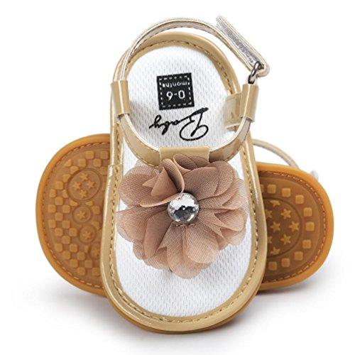 Bonjouree Chaussures à Fleurs et Perle Sandales Bebe Fille Ete Kaki