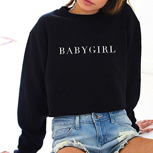 261e07ad69 Ulanda Damen Frauen Teenager Mädchen Pullover Sweatshirt Elegant Langarm  Casual Rundhals Pulli Strickjacke Freizeit Sport Baby