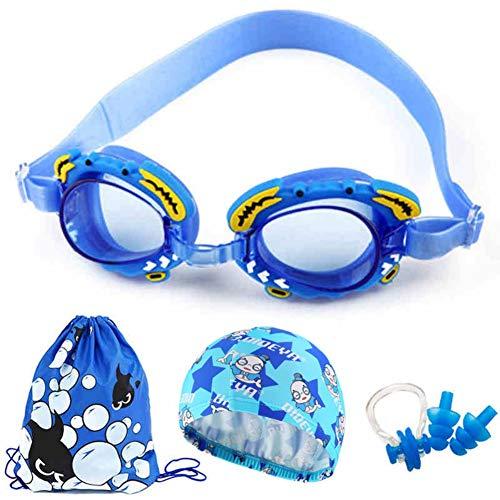 CawBing Kinderbrille Schwimmen Cap Jungen Mädchen Schwimmbad Ohrstöpsel Vierteiliges Set für Kinder