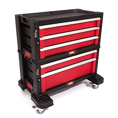Preisvergleich Produktbild Keter 5 Drawer Tool Chest Set Acetal Slides, 1 Stück, schwarz / rot / silber, 17199301