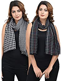 Anekaant Black Multicolour Viscose Checkered Reversible Stole Pack Of 2 (55x180 cm)