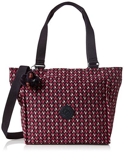 Kipling New Shopper S - Borse a tracolla Donna, Multicolore (Pink Chevron), 15x24x45 cm (W x H x L)
