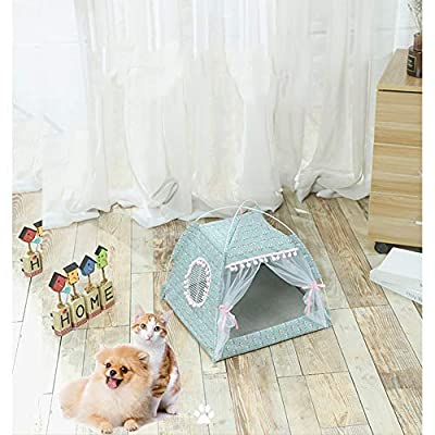 XuBa Pet Tent Cloth Foldable Pet Fence Detachable Washable Cat and Dog Cage Leopard pink L by XuBa