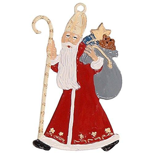 Zinngeschenke Hl. Nikolaus beidseitig von Hand bemalt aus Zinn (HxB) 7,0 x 4,0 cm, Christbaumschmuck