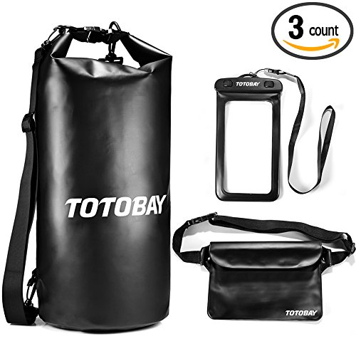 Premium 20L Waterproof Dry Bag with Free Waterproof Phone Case and Waist Pouch with Long Adjustable Shoulder Strap Touch Responsive for Rafting Kayaking Boating Fishing Swimming Beach Pool Hiking Camping Water Sports Phone Wallet Watch (black)