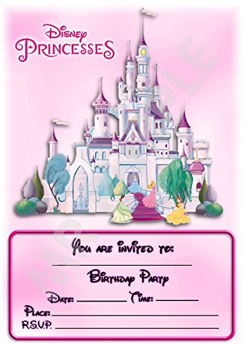Disney Princess Castle Geburtstag Party lädt - Hochformat Castle Design - Party Dekorationen/Zubehör (12 Stück EINLADUNGEN) WITH Envelopes (Geburtstag Princess Dekorationen Disney)