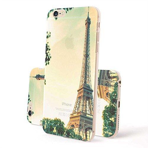 FINOO Custodia cellulare Trasparente Custodia rigida Paesaggi 3 - Casa lago 2, Iphone 6 Plus Torre Eiffel 2