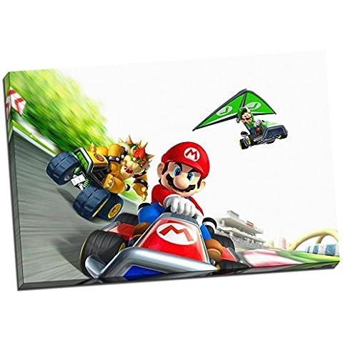 Mario Kart Luigi con impresión de Lienzo tamaño grande decorativo de fotos de madera de 30 x 50,8 cm