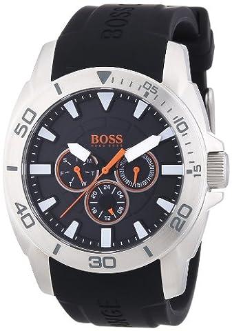 Hugo Boss Orange - 1512950 - Montre Homme - Quartz Analogique - Cadran Noir - Bracelet Silicone Noir