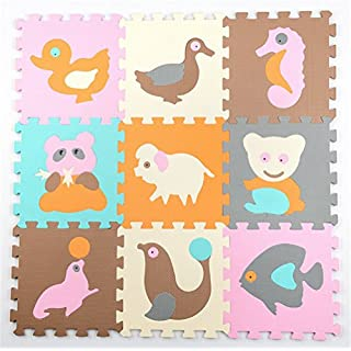 Abaobao Children's Interlocking Foam Puzzle Mat for Garages, Laundry Rooms, Bedrooms, Nurseries, Play Areas, Games Rooms or Gardens, Animal B, 30_x_30_cm