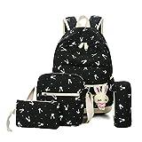 caveen 5pcs/set bolso de escuela color lienzo mochilas niños adolescentes gran capacidad bolsa de hombro con conejo colgante negro negro