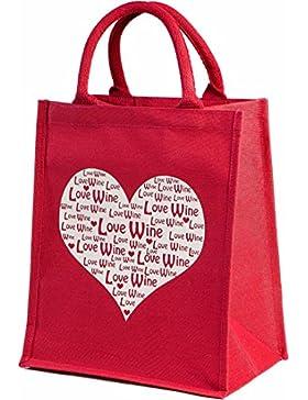 Einkaufstasche für 6Flaschen, mit herausnehmbaren Trennwänden, für Weinliebhaber, Jute, Herz-Motiv, Rot