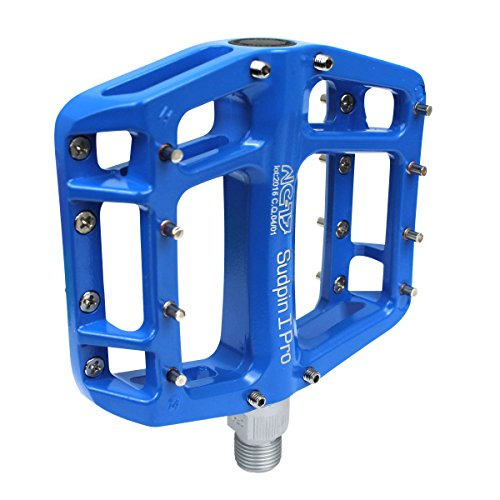 NC-17 Sudpin I Pro Aluminium Plattform Pedale / Fahrrad Pedale MTB / Mountainbike Pedal / BMX Pedal / Kugellager + Cr-Mo Achse / inklusiv Ersatzpins, Blau