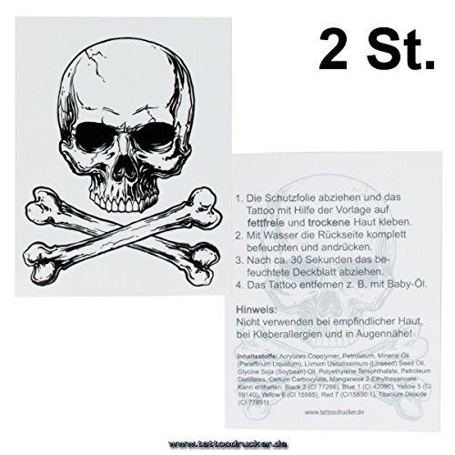 2 x Totenkopf Tattoos - Totenkopf mit Knochen Tattoo - Skull & Bones Tattoo (2)