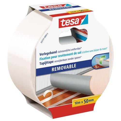tesa Teppich-Verlegeband, 10 m x 50 mm - Doppelseitiges Klebeband