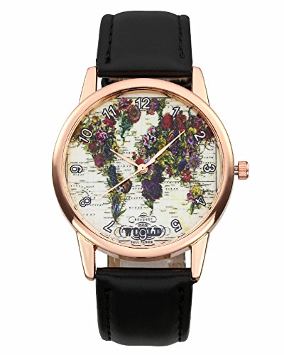 JSDDE Uhren Vintage Blumen Weltkarte Armbanduhr Damenuhr PU Lederarmband Analog Quarzuhr mit Batterie Schwarz