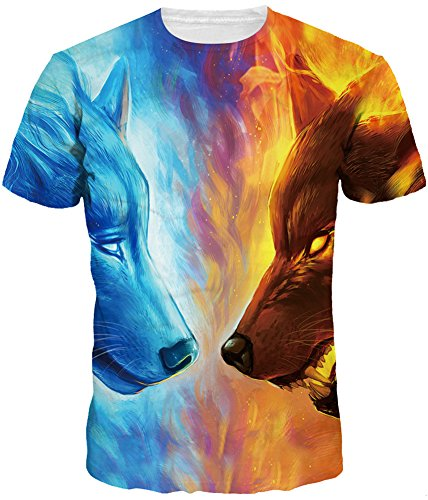 TDOLAH Herren T-Shirt Rundhals Tee Regular fit Short Sleeves Kurzarm Shirt Rundhalsausschnitt (L (Tag 2XL/3XL), Eis und Feuer Wölfe) (Feuer Sleeve Short T-shirt)