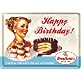 Nostalgic-Art 10101 Say it 50's - Happy Birthday Cake | Blechpostkarte 10x14 cm | Grußkarte | Retro Postkarte