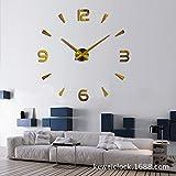 Angke Reloj de pared con adhesivo 3D para decoración del hogar, oficina, color negro