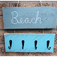 Coat Rack Vintage Handmade Beach Wooden Rustic Metal Coat 3 Coat Hooks