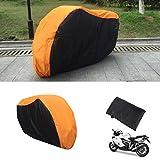 Telo Coprimoto Impermeabile Poliestere Copri Scooter Antipolveri Anti-UV con sacco, arancione e nero, 2,5x1.6m, XL