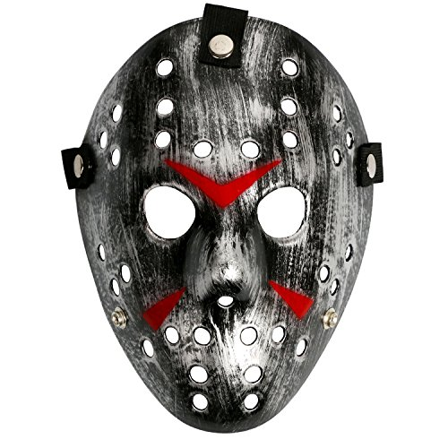 Landisun KOSTÜM PROP HORROR HOCKEY MASKE HALLOWEEN MYERS (Erwachsen, Silber (Schwarze Masken Halloween)