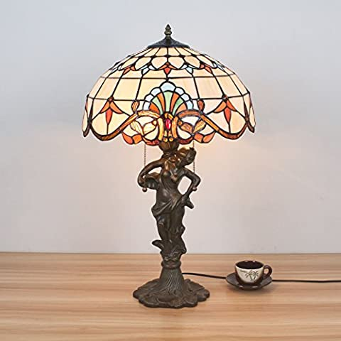 16 Inch Antique American Style Vintage Pastoral Baroque Handmade Stained Glass Table Lamp Desk Lamp Bedroom Lamp