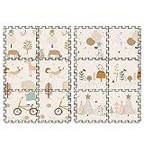 HULYJ Tapis de Jeu Enfants Double côtés Puzzle 6 Pcs Tapis de Jeu Animaux en Mousse,B