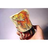 Porta Sigarette in cuoio, Pesce Rosso