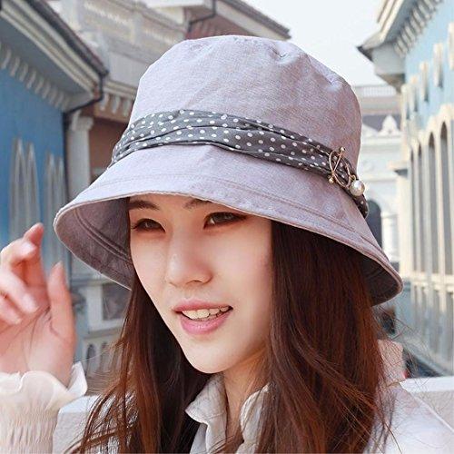 LIUXINDA-MZ Hat, female, pure color sunshade, sun hat, flat top fisherman hat, summer sunscreen hat, Beach Hat, outdoor hat,gray