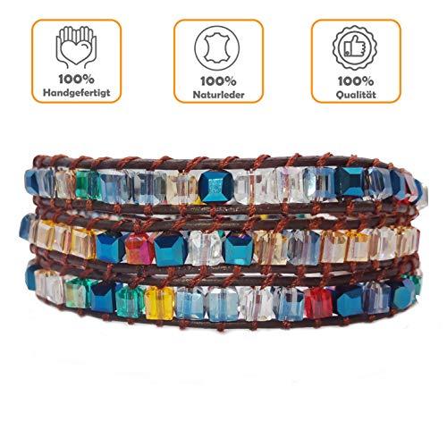 AMAYA Perlenarmband Breit Armband Frauen Geschenke für Frauen Wickelarmband - Schmuck Damen Kristall- und Natursteine Lederarmband - VSCO Armbänder Modeschmuck - Armbänder Damen verstellbar Silber