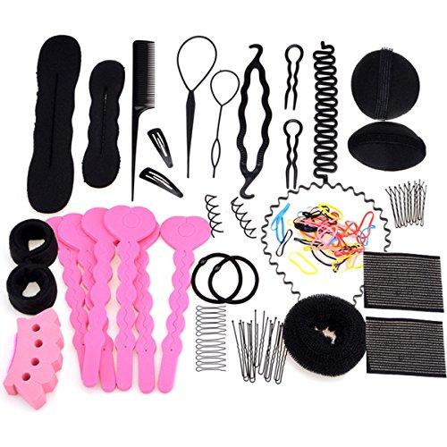 Aozzy 20 Stk Kit Haarstyling Geräte & Styling Zubehör Set -Magic Hair Braider Clip Pads Schaum Schwamm Brötchen Donut DIY Schönheit Tool