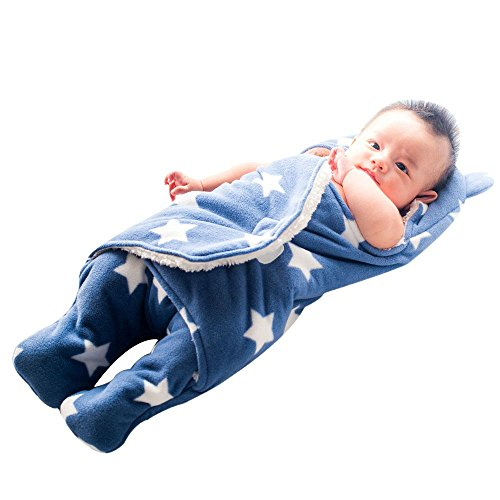 GreForest Bambino Swaddle Coperta Blu Star Separare le gambe per l'autunno e inverno, Medium, 3-6 mesi