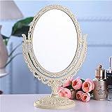 Qivange Makeup Spiegel Kosmetik Spiegel Beidseitig Tischspiegel(Oval & Aprikose Gelb)