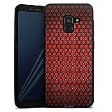 DeinDesign Silikon Hülle kompatibel mit Samsung Galaxy A8 Duos 2018 Case Schutzhülle Red Hexagon Pattern Punkte Muster Erscheinungsbild