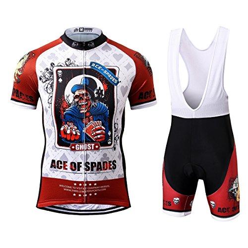Thriller Rider Sports® Herren Ace of Spades Sport & Freizeit MTB Fahrradbekleidung Radtrikot und Trägerhose Anzüge 3X-Large
