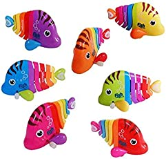 Vibgyor Vibes™ Key Operated Wind up Stalking Toy: Mini Robotic Fish in Candy Colours. Pack of 2