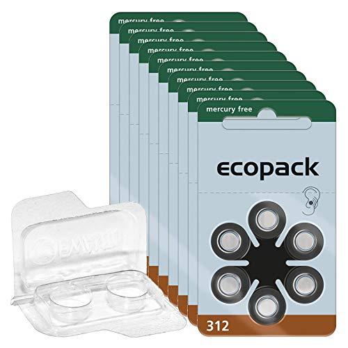 10x ecopack Gr. 312 Hörgerätebatterien 6er Blister Braun 1,4V + Aufbewahrungsbox für 2 Hörgerätebatterien (10, 13, 312, 675), transparente Batteriebox für zwei Knopfzellen bis 12 mm x 6 mm (Ø x H)