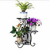 Stand per piante multifunzionali 3 Tier Vaso da fiori Flower Stand Rack Indoor Herb Bonsai Mensola da giardino Patio Standing Planter Decorazione Display Holder Supporto da pavimento Stand Ferro Outdo