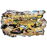 Chicbanners My First JCB Digger Diggers 3D Wall Crack V105 3D Wall Smash Magic Window Wall Sticker Self Adhesive Poster Wall Art size 1000mm wide x 600mm deep (large)