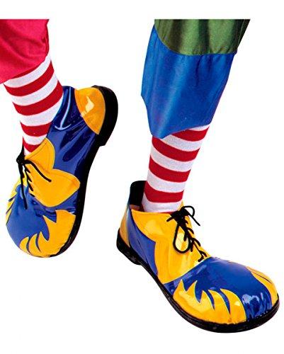 Clown Schuhe blau und gelb mit (Schuhe Flamme)