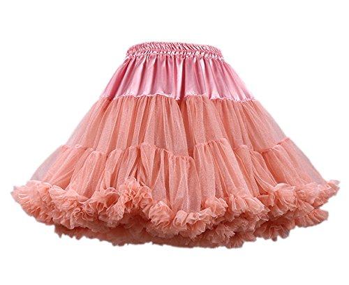 Rock Kostüme Sängerin (Honeystore Damen Mädchen Kinder Tanzen Ballett Tutu Rock Ballett Pettiskirt Prinzessin Tanz Röckchen Tutu Kostüme Dunkel Koralle One)