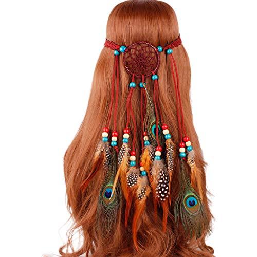 Lyguy, Hippie-Stirnband, Bohemian-Stil, indische Farbe, mit Kunstperlen, Pfauenfedern, verstellbar, Cosplay Party Kopfbedeckung - Kostüm Der Klassischen Indischen Tänze