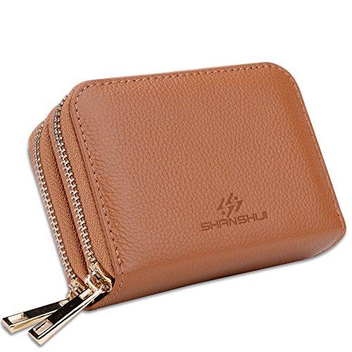 Elegante Damen Geldbörse Echtes Leder Kreditkartenhülle Kreditkartenetui mit RFID NFC Schutz, 12 Kartenfächer und Geldfach Braun …