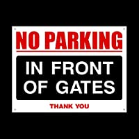 No Parking In front of Gates 3mm Metal Sign with 4 Pre-Drilled Holes - Private Property, Parking, Clamping, Disabled, Driveway, Do not block (MISC87)