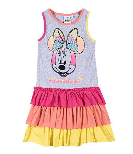 (Disney Minnie Mädchen Kleid - grau - 128)