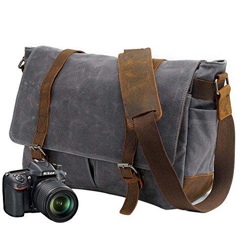 Neuleben Vintage Wasserdicht Kameratasche Aktentasche herausnehmbar Kamerafach Canvas Leder Umhängetasche Fototasche für DSLR Objektiv Laptopfach (Grau)